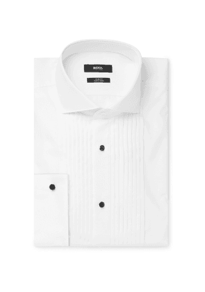 Hugo Boss - White Slim-Fit Cutaway-Collar Pleated Bib-Front Cotton Tuxedo Shirt - Men - White