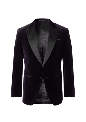Hugo Boss - Black Helward Slim-Fit Satin-Trimmed Cotton-Velvet Tuxedo Jacket - Men - Purple