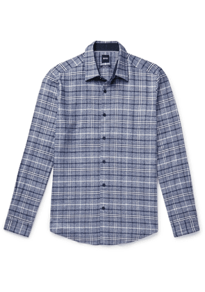 Hugo Boss - Checked Cotton and Lyocell-Blend Flannel Shirt - Men - Blue