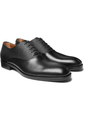 Hugo Boss - Stanford Smooth and Textured-Leather Oxford Shoes - Men - Black