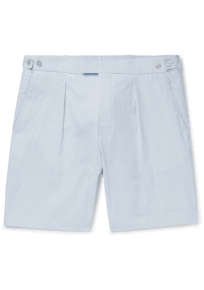 Hugo Boss - Pepe Pleated Pinstriped Cotton-Seersucker Shorts - Men - Blue