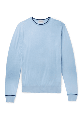 John Smedley - Astin Slim-Fit Contrast-Tipped Sea Island Cotton Sweater - Men - Blue