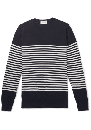 John Smedley - Striped Sea Island Cotton Sweater - Men - Blue