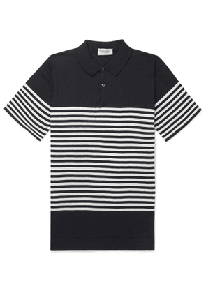 John Smedley - Rill Striped Sea Island Cotton Polo Shirt - Men - Blue