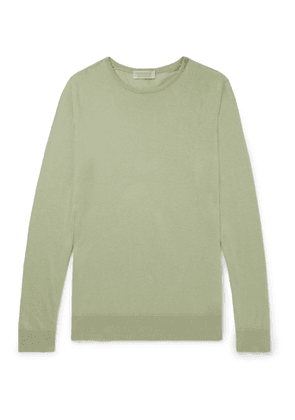 John Smedley - Theon Slim-Fit Sea Island Cotton and Cashmere-Blend Sweater - Men - Green