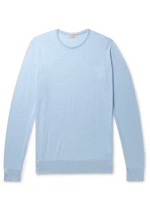 John Smedley - Theon Slim-Fit Sea Island Cotton and Cashmere-Blend Sweater - Men - Blue
