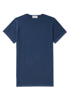 John Smedley - 2 Singular Slim-Fit Honeycomb-Knit Virgin Wool T-Shirt - Men - Blue