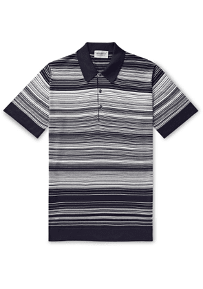 John Smedley - Timber Striped Sea Island Cotton Polo Shirt - Men - Blue
