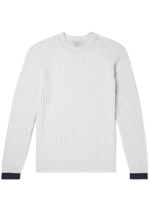 John Smedley - Ezra Contrast-Tipped Ribbed Merino Wool and Cashmere-Blend Sweater - Men - Gray