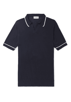 John Smedley - Saxon Slim-Fit Contrast-Tipped Sea Island Cotton Polo Shirt - Men - Blue
