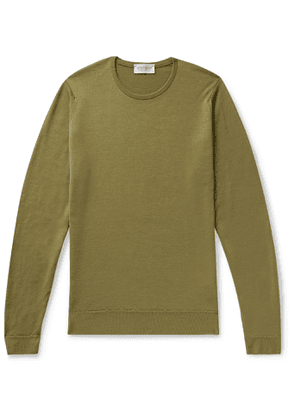 John Smedley - Lundy Slim-Fit Mélange Merino Wool Sweater - Men - Green