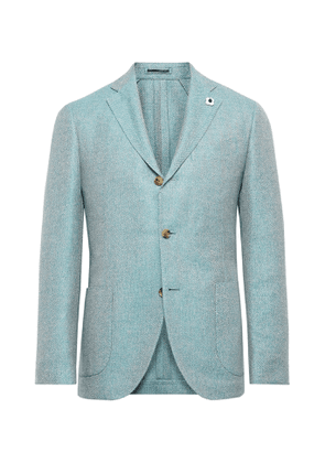 Lardini - Light-Blue Unstructured Herringbone Wool, Linen and Silk-Blend Blazer - Men - Blue