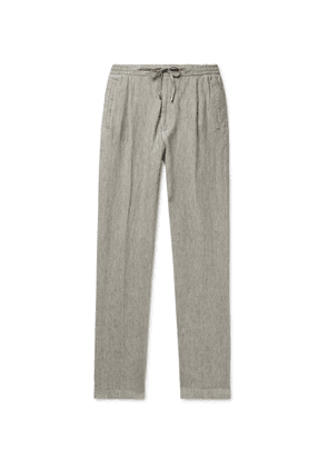 Lardini - Miami Slim-Fit Pleated Mélange Linen Drawstring Trousers - Men - Gray