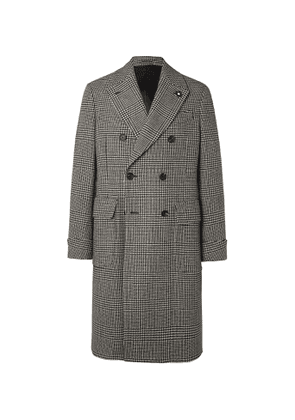 Lardini - Prince of Wales Checked Virgin Wool Coat - Men - Gray
