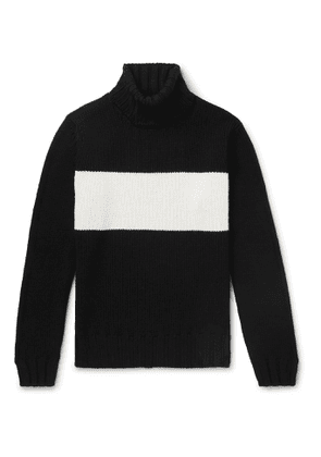 Lardini - Slim-Fit Striped Wool Rollneck Sweater - Men - Black