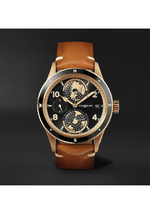 Montblanc - 1858 Geosphere Limited Edition Automatic 42mm Bronze, Ceramic and Leather Watch, Ref. No. 119347 - Men - Brown