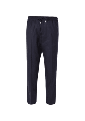 Mr P. - Slim-Fit Midnight-Blue Worsted-Wool Drawstring Trousers - Men - Blue