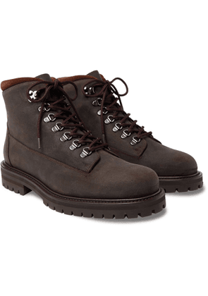 Mr P. - Jacques Shearling-Lined Waxed-Suede Boots - Men - Brown