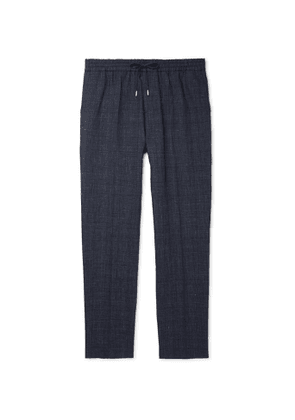 Mr P. - Prince of Wales Checked Linen and Virgin Wool-Blend Drawstring Trousers - Men - Blue
