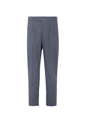 Mr P. - Tapered Pleated Linen and Cotton-Blend Cropped Suit Trousers - Men - Blue