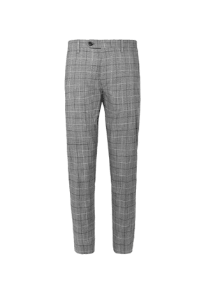 Mr P. - Slim-Fit Checked Cotton-Blend Cropped Trousers - Men - Gray