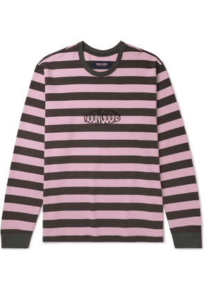 Noon Goons - Jalama Logo-Embroidered Striped Cotton-Jersey T-Shirt - Men - Pink
