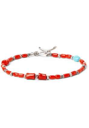 Peyote Bird - Coral, Turquoise and Burnished Sterling Silver Bracelet - Men - Red
