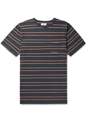 Saturdays NYC - Logo-Embroidered Striped Cotton-Jersey T-Shirt - Men - Gray