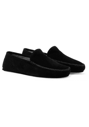 Thom Sweeney - Cashmere-Lined Suede Slippers - Men - Black