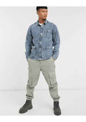 Only & Sons denim worker jacket with pockets in blue-Black