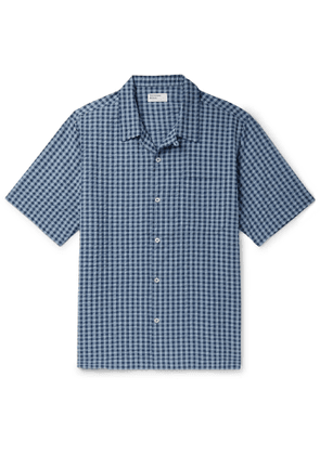 Universal Works - Camp-Collar Checked Cotton-Seersucker Shirt - Men - Blue