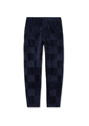 Universal Works - Tapered Patchwork Cotton-Corduroy Trousers - Men - Blue