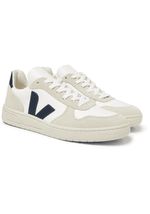 Veja - V-10 Leather-Trimmed Mesh and Suede Sneakers - Men - White