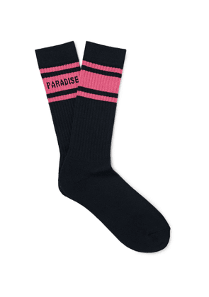 Wacko Maria - Logo-Intarsia Ribbed Cotton-Blend Socks - Men - Black