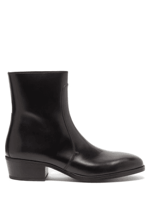 Lemaire - Zipped Leather Boots - Mens - Black