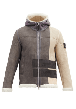 Stone Island - Logo-print Hooded Shearling-lined Leather Jacket - Mens - Grey