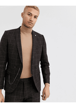 Twisted Tailor super skinny double breasted suit jacket in brown check