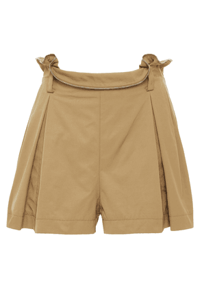 Alexander Wang Zip-detailed Pleated Woven Shorts Woman Sand Size 6