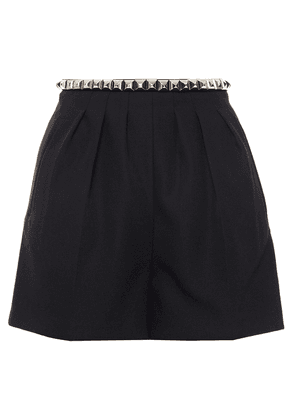 Alexander Wang Studded Pleated Wool-crepe Shorts Woman Black Size 0