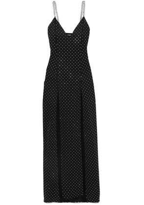 Balmain Chain And Crystal-embellished Stretch-jersey Gown Woman Black Size 36
