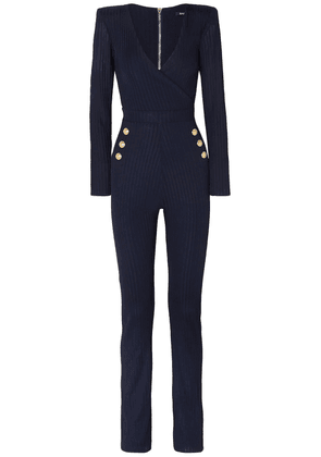 Balmain Button-embellished Ribbed Jersey Jumpsuit Woman Midnight blue Size 44