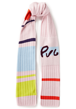 Emilio Pucci Intarsia Ribbed Cashmere Scarf Woman Pastel pink Size --