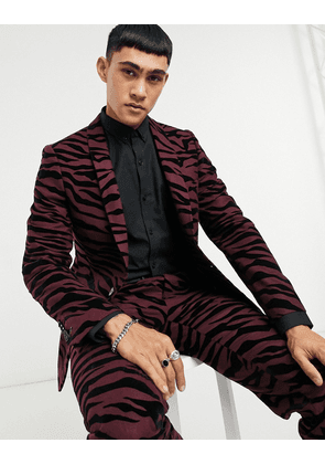 Twisted Tailor suit jacket with tiger flock in burgundy-Red