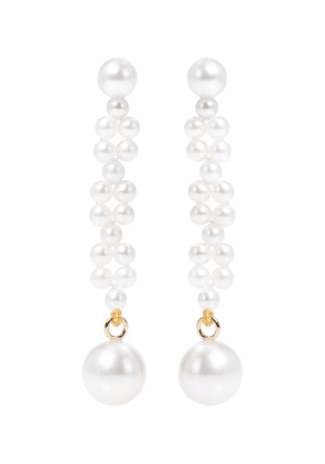 Tressé 14kt gold earrings with freshwater pearls