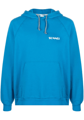 Sunnei logo print pouch pocket hoodie - Blue