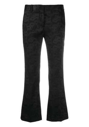 Alberto Biani floral-embroidered flared trousers - Black