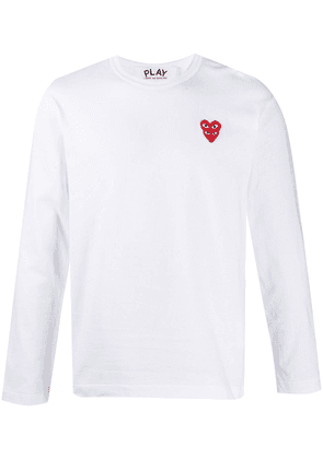 Comme Des Garçons Play heart-embroidered long-sleeve T-shirt - White