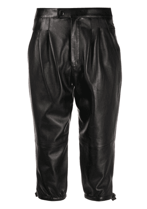 Saint Laurent lambskin cropped trousers - Black