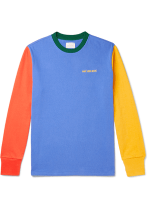 Aimé Leon Dore - Logo-Embroidered Colour-Block Cotton-Jersey T-Shirt - Men - Blue