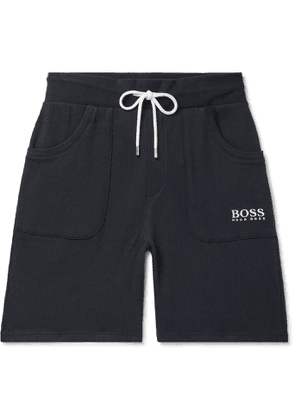 Hugo Boss - Logo-Embroidered Waffle-Knit Cotton-Jersey Drawstring Shorts - Men - Blue